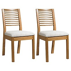 Debenhams - Pair of oak 'Nord' dining chairs with cream fabric seats