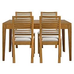 Debenhams - Oak 'Nord' extending table and 4 chairs with cream fabric seats