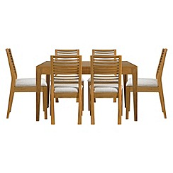 Debenhams - Oak 'Nord' extending table and 6 chairs with cream fabric seats