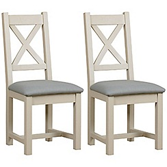 Debenhams - Pair of painted 'Wadebridge' dining chairs with blue fabric seats
