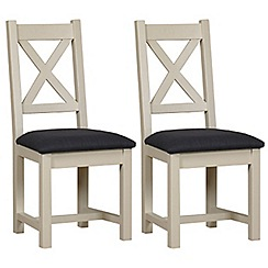 Debenhams - Pair of painted 'Wadebridge' dining chairs with grey fabric seats