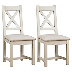 Debenhams - Pair of painted 'Wadebridge' dining chairs with cream fabric seats