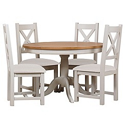 Debenhams - Oak and painted 'Wadebridge' fixed-top table and 4 chairs with cream fabric seats