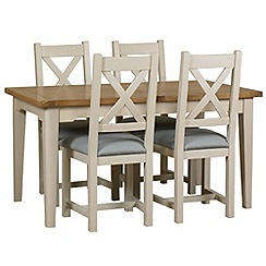 Debenhams - Oak and painted 'Wadebridge' extending table and 4 chairs with blue fabric seats
