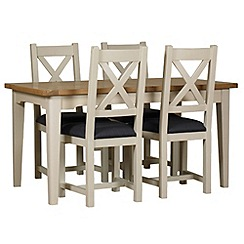 Debenhams - Oak and painted 'Wadebridge' extending table and 4 chairs with grey fabric seats
