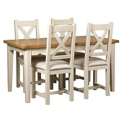 Debenhams - Oak and painted 'Wadebridge' small extending table and 4 chairs with cream fabric seats