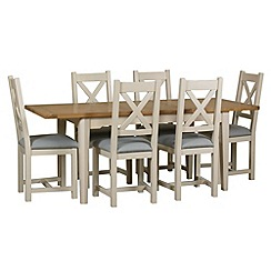 Debenhams - Oak and painted 'Wadebridge' extending table and 6 chairs with blue fabric seats