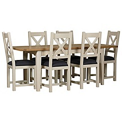 Debenhams - Oak and painted 'Wadebridge' extending table and 6 chairs with grey fabric seats