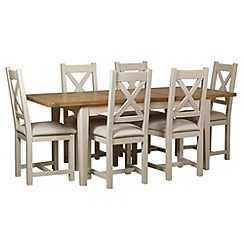 Debenhams - Oak and painted 'Wadebridge' extending table and 6 chairs with cream fabric seats
