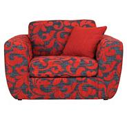 Patterned red 'Carousel' snuggler chair