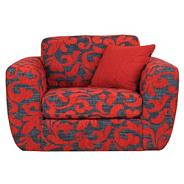 Patterned red 'Carousel' snuggler swivel chair