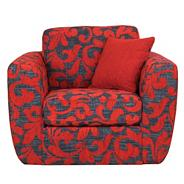 Red patterned 'Carousel' swivel armchair