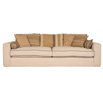 Cream large Casbah sofa with Andrew Martin fabric cushions