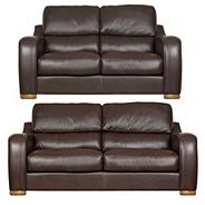 Chocolate 'Berber' leather large and medium sofa set with light feet