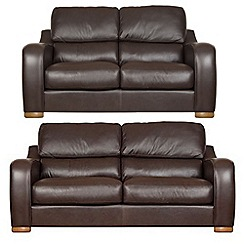 Debenhams - Set of large and medium leather 'Berber' sofas