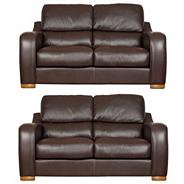 Chocolate 'Berber' leather two medium sofa set with light feet