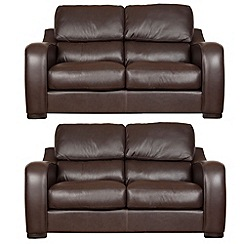 Debenhams - Set of 2 medium leather 'Berber' sofas
