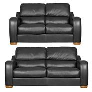 Black 'Berber' leather large and medium sofa set with light feet