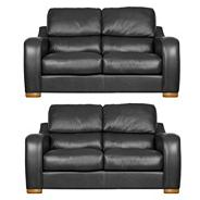 Black 'Berber' leather two medium sofa set with light feet