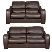 Chocolate 'Berber' leather large and medium sofa set with dark feet