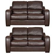 Chocolate 'Berber' leather two medium sofa set with dark feet