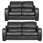 Black 'Berber' leather large and medium sofa set with dark feet