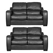 Black 'Berber' leather two medium sofa set with dark feet