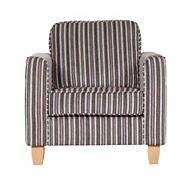 Camel colour striped 'Dante' armchair with light wood feet