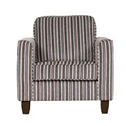 Beige striped 'Dante' armchair with dark wood feet