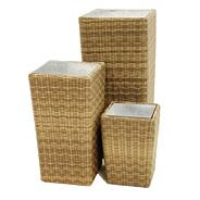 Set of three light brown 'Winchester' planters