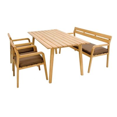 Teak effect Astoria cushioned dining set