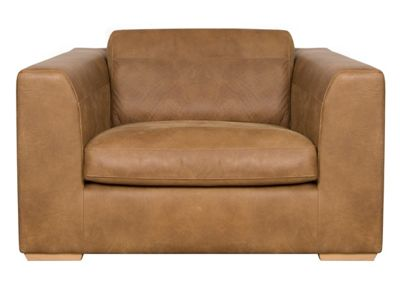 Tan leather Paris snuggler chair
