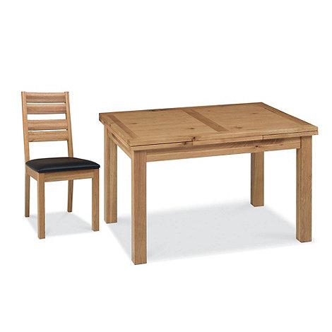 Debenhams - Oak +Provence+ medium extending table and 4 slatted back chairs
