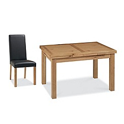 Debenhams - Oak 'Provence' medium extending table and 4 dark brown upholstered chairs