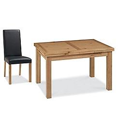 Debenhams - Oak 'Provence' medium extending table and 6 dark brown upholstered chairs