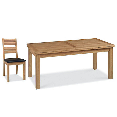 Debenhams - Oak +Provence+ large extending table and 8 slatted back chairs
