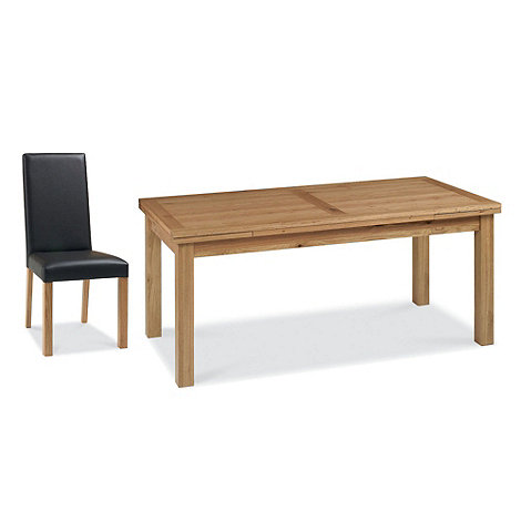 Debenhams - Oak +Provence+ large extending table and 6 beige fabric chairs