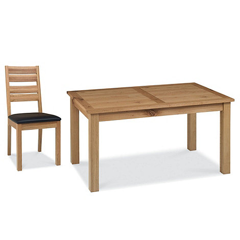 Debenhams - Oak +Provence+ medium fixed-top table and 6 slatted back chairs