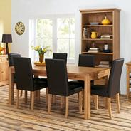 Oak 'Provence' medium fixed top table and set of 6 upholstered chairs