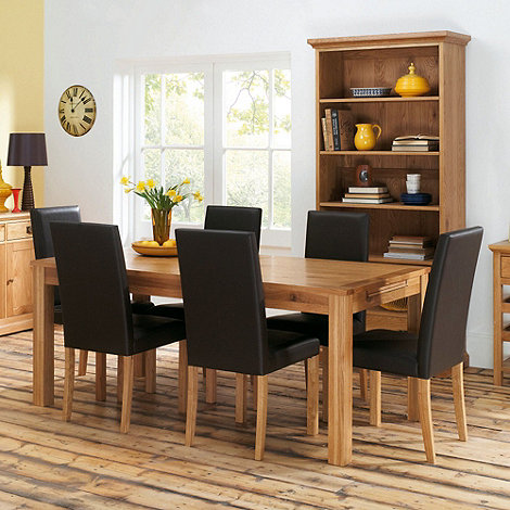Debenhams - Oak +Provence+ medium fixed-top table and 6 upholstered chairs