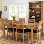Oak 'Provence' large double end extendable dining table with 6 slat back chairs