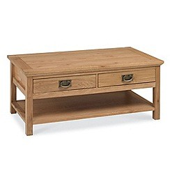 Debenhams - Oak 'Provence' coffee table with 2 drawers
