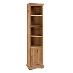 Debenhams - Oak 'Provence' narrow bookcase with single cupboard