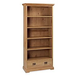 Debenhams - Oak 'Provence' wide bookcase with single drawer