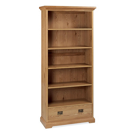 Debenhams - Oak +Provence+ wide bookcase with single drawer