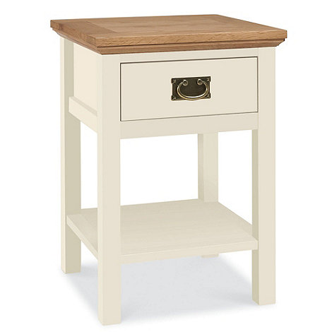 Debenhams - Oak and painted +Provence+ side table with single drawer