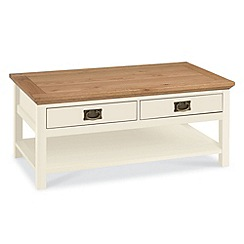 Debenhams - Oak and painted 'Provence' coffee table with 2 drawers