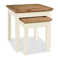 Debenhams - Oak and painted 'Provence' nest of 2 tables