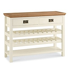Debenhams - Oak and painted 'Provence' console table with wine rack