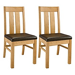 Debenhams - Pair of oak 'Lyon' slatted back dining chairs